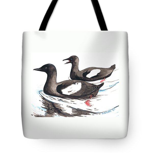 Black Guillemot Tote Bag