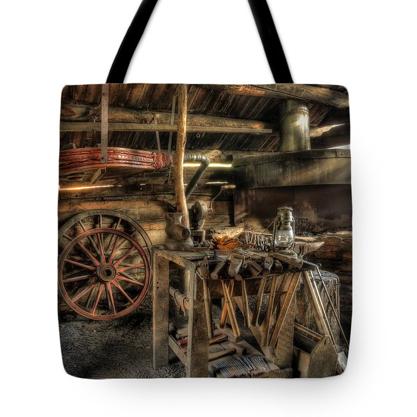 Blacksmith Shop Tote Bag by Jaki Miller