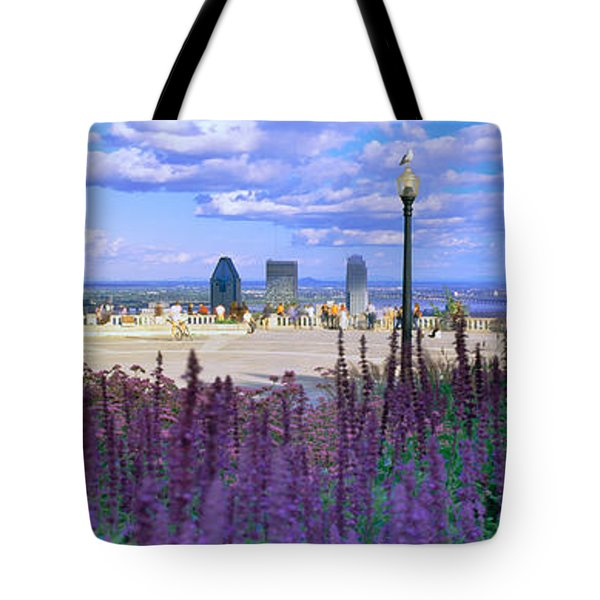 Blooming Flowers With City Skyline Tote Bag