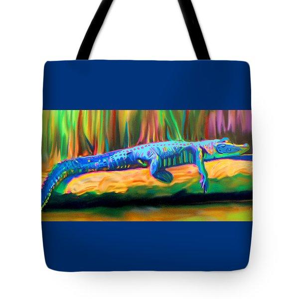 Blue Alligator Tote Bag