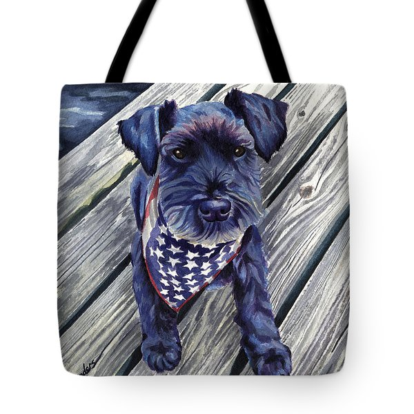 Blue Black Dog On Pier Tote Bag