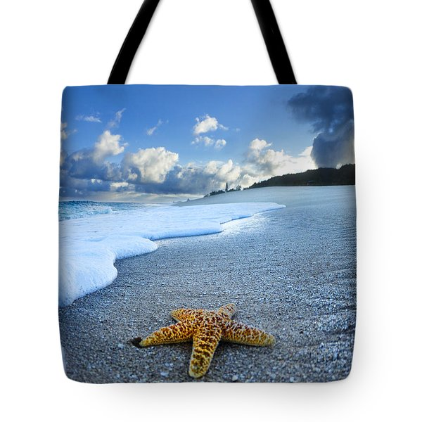 Blue Foam Starfish Tote Bag