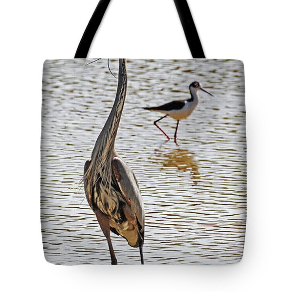 Blue Heron And Stilt Tote Bag by Tom Janca