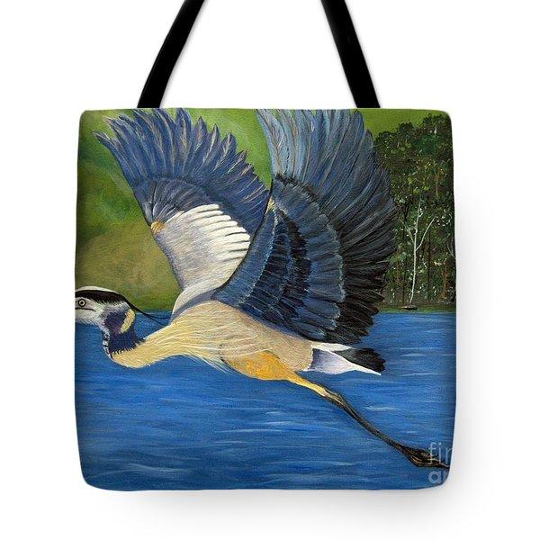 Tote Bag featuring the painting Blue Heron In Flight by Brenda Brown