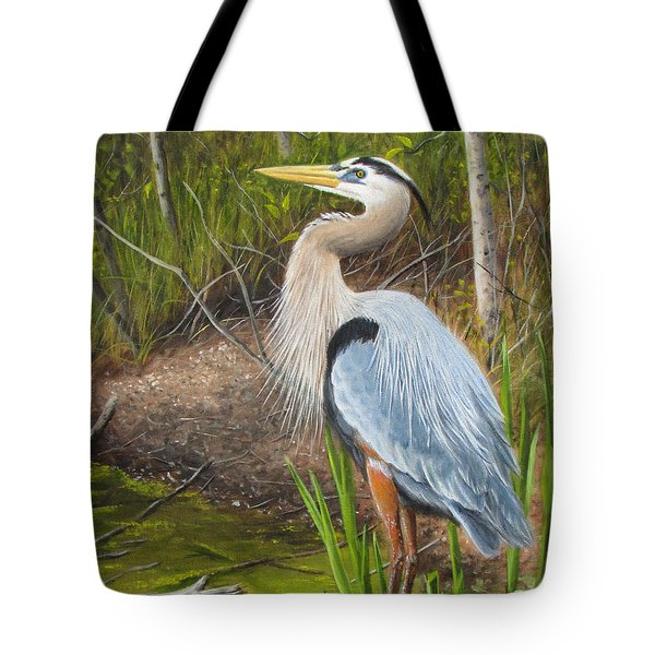 Tote Bag featuring the painting Blue Heron by Tammy Taylor
