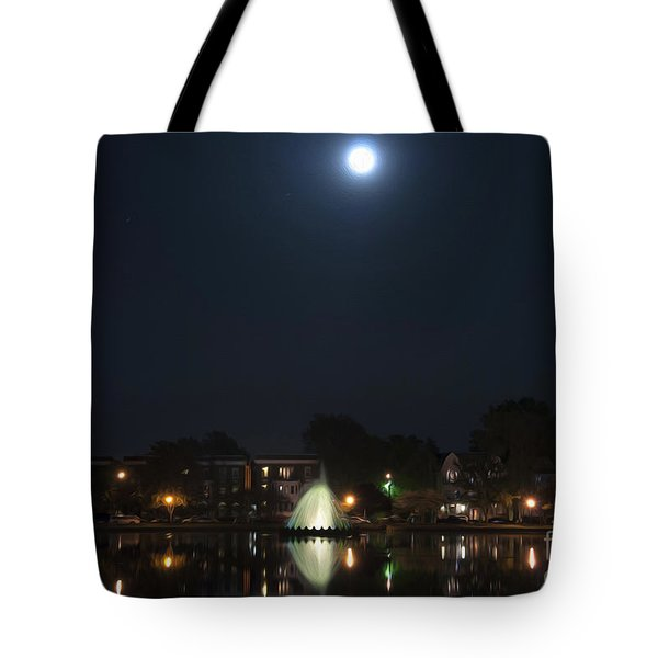 Tote Bag featuring the digital art Blue Moon Over Fountain Lake by Kelvin Booker