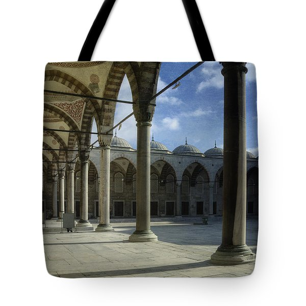 Blue Mosque Courtyard Tote Bag by Joan Carroll
