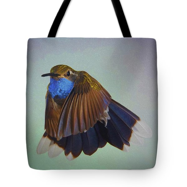 Tote Bag featuring the photograph Blue-throated Hummingbird - Wings  Forward by Gregory Scott