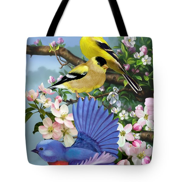 Bluebird And Goldfinch Tote Bag