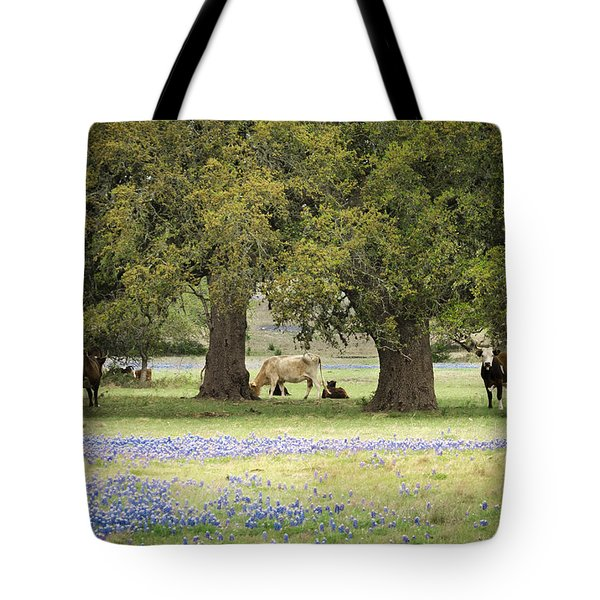 Bluebonnets And Bovines Tote Bag