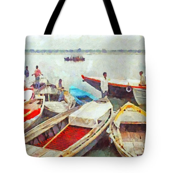 Boats On The Ganges River Tote Bag