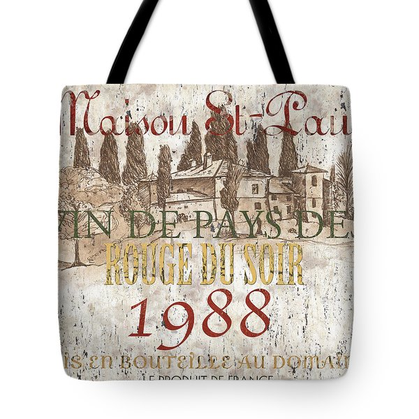 Bordeaux Blanc Label 1 Tote Bag