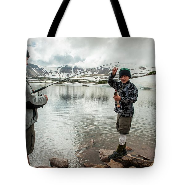 Boys Fish In Superior Lake During A Six Tote Bag
