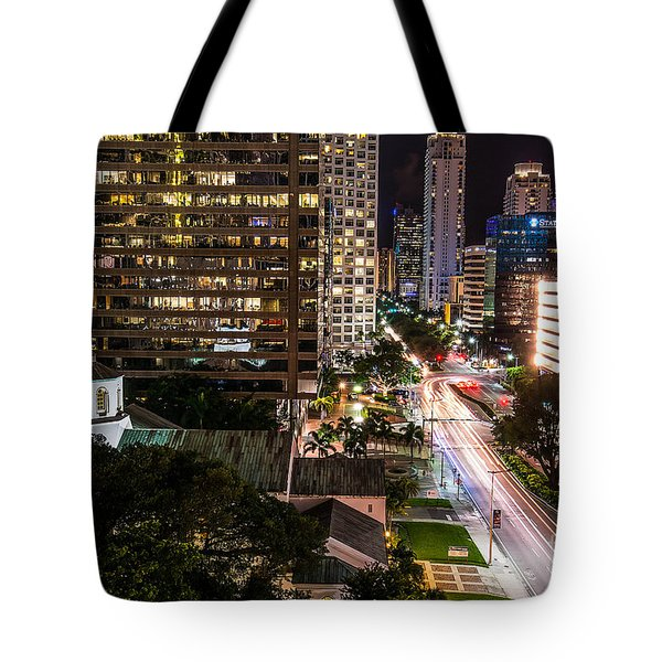 Brickell Ave Downtown Miami  Tote Bag by Michael Moriarty