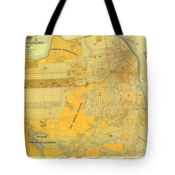 Britton And Reys Guide Map Of The City Of San Francisco. 1887. Tote Bag