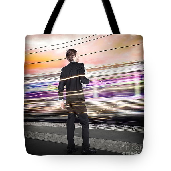 Business Man At Train Station Railway Platform Tote Bag