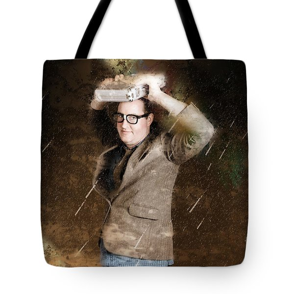 Business Man In Bad Weather Storm. Crisis Concept Tote Bag