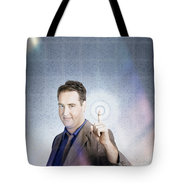 Business Man Pressing Digital Target Touch Screen Tote Bag