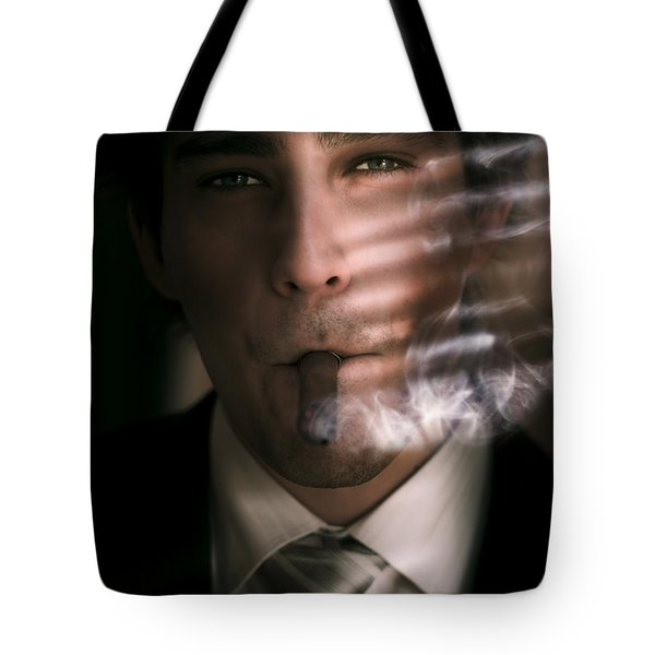 Business Man Smoking Cigar In Victory And Success Tote Bag