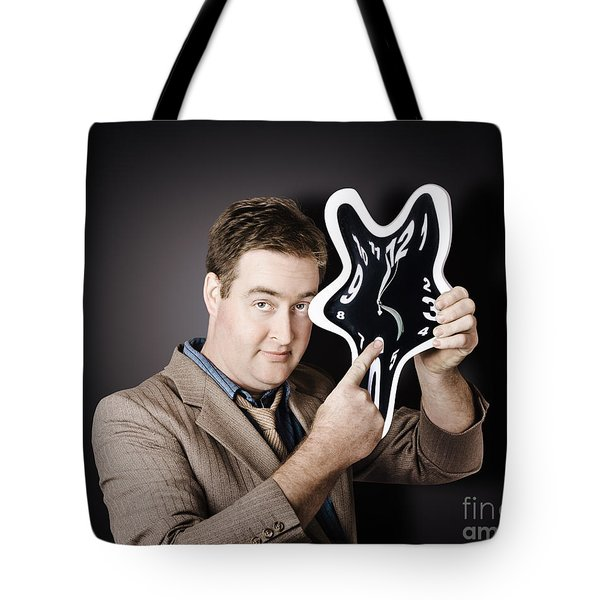 Businessman Holding Melting Clock. Time Stress Tote Bag