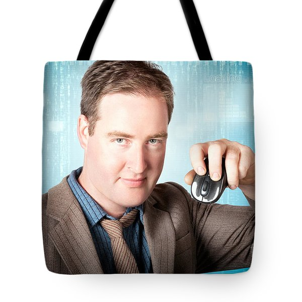 Businessman Searching Internet With Wireless Mouse Tote Bag
