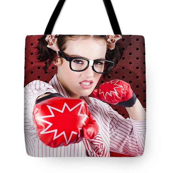 Businesswoman Boxing The Competition With Strategy Tote Bag