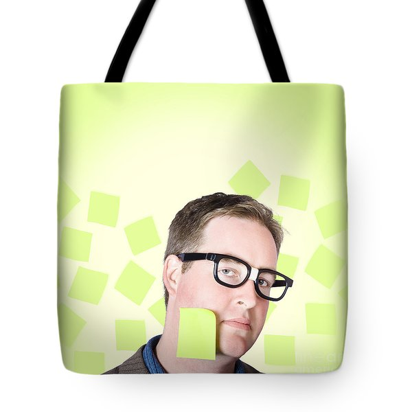 Busy Business Man With Lots Of Errands. Hard Work Tote Bag