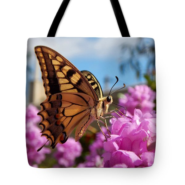 Butterfly On Bougainvillea Tote Bag