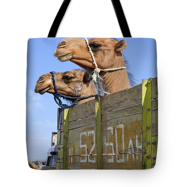 Camels At The Ashgabat Sunday Market In Turkmenistan Tote Bag by Robert Preston