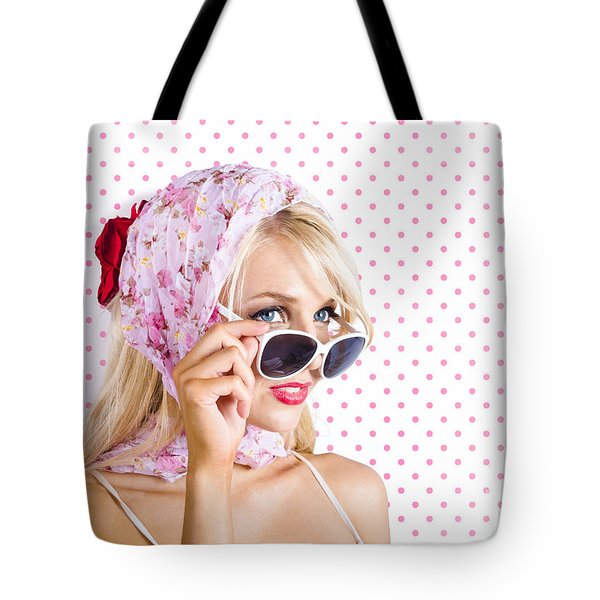 Captivating Woman Looking At Fashion Copyspace Tote Bag