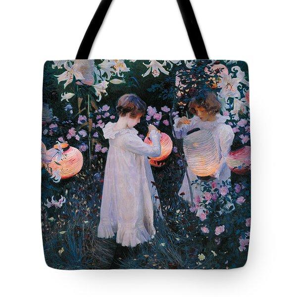 Carnation Lily Lily Rose Tote Bag by John Singer Sargent