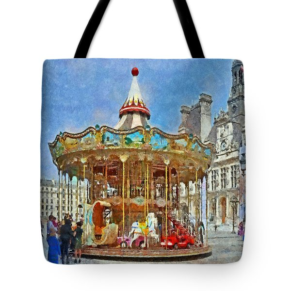 Carousel In Front Of The Hotel De Ville In Paris Tote Bag