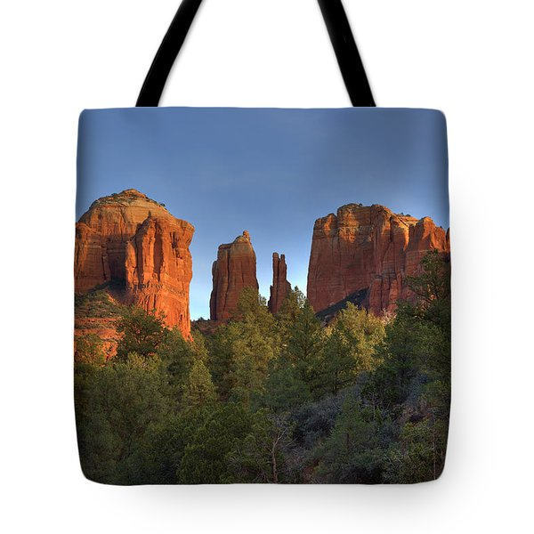 Tote Bag featuring the photograph Cathedral Rocks In Sedona by Alan Vance Ley