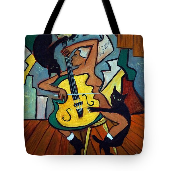 Cellist With Cats Tote Bag by Valerie Vescovi
