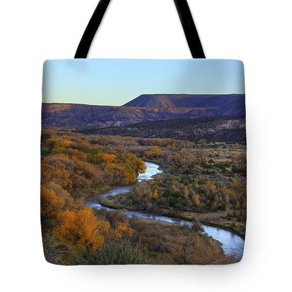 Chama River At Sunset Tote Bag