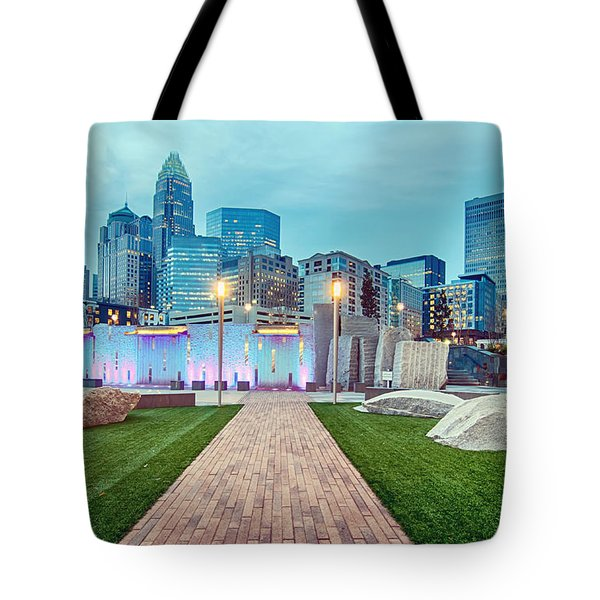 Charlotte City Skyline In The Evening Tote Bag