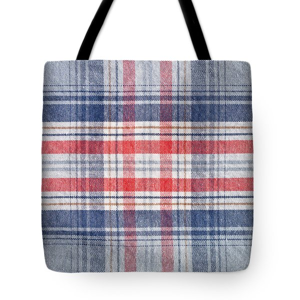 Checked Material Tote Bag