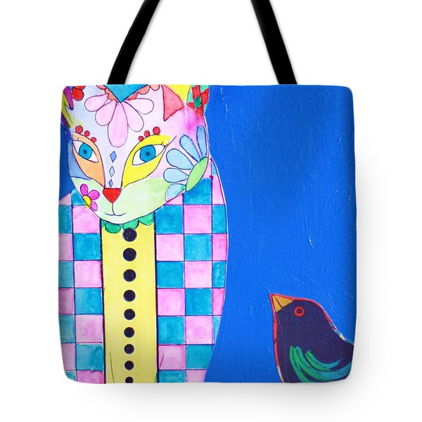 Checkered Cat Tote Bag