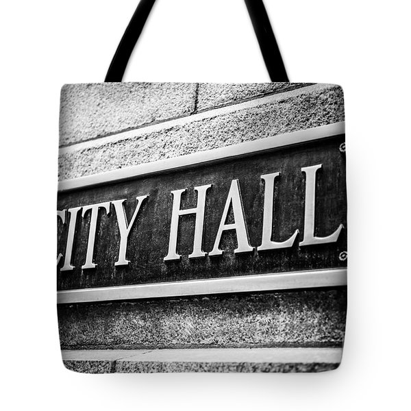 Chicago City Hall Sign In Black And White Tote Bag by Paul Velgos