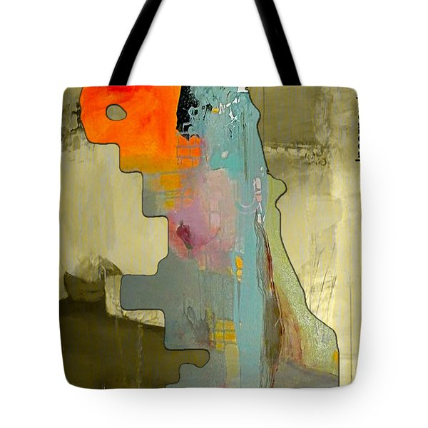Chicago Map And Skyline Watercolor Tote Bag by Marvin Blaine