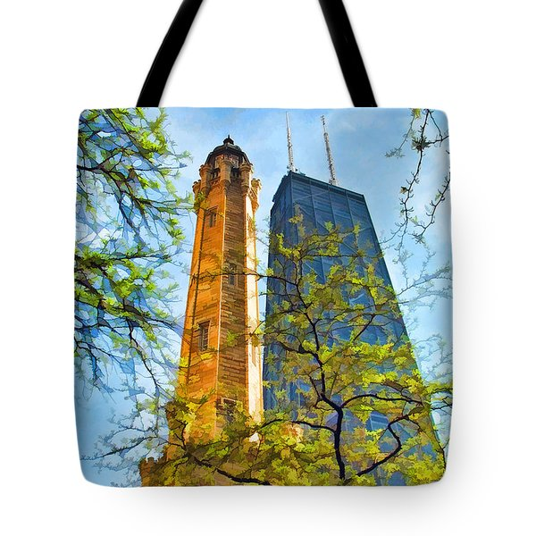Chicago Water And Hancock Towers Tote Bag by Christopher Arndt