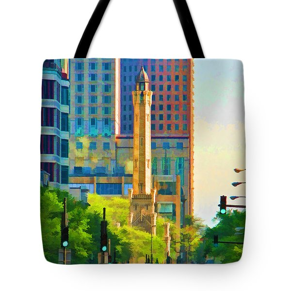 Chicago Water Tower Beacon Tote Bag by Christopher Arndt