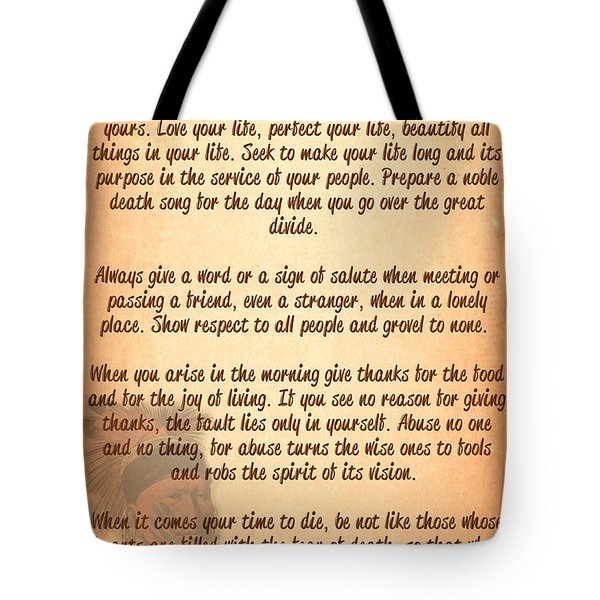 Tote Bag featuring the digital art Chief Tecumseh Poem - Live Your Life by Celestial Images