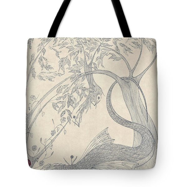 Tote Bag featuring the drawing China The Dragon by Dianne Levy