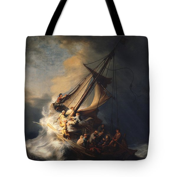 Tote Bag featuring the painting Christ In The Storm On The Sea Of Galilee by Rembrandt Van Rijn