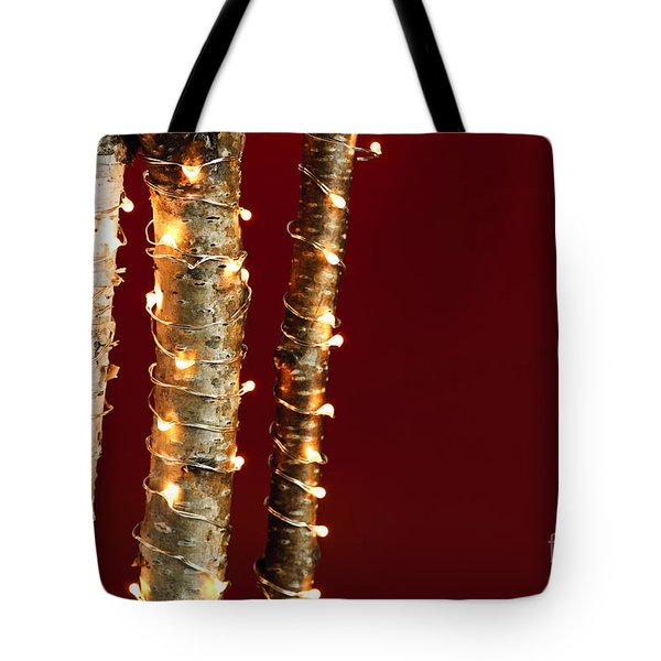 Christmas Lights On Birch Branches Tote Bag