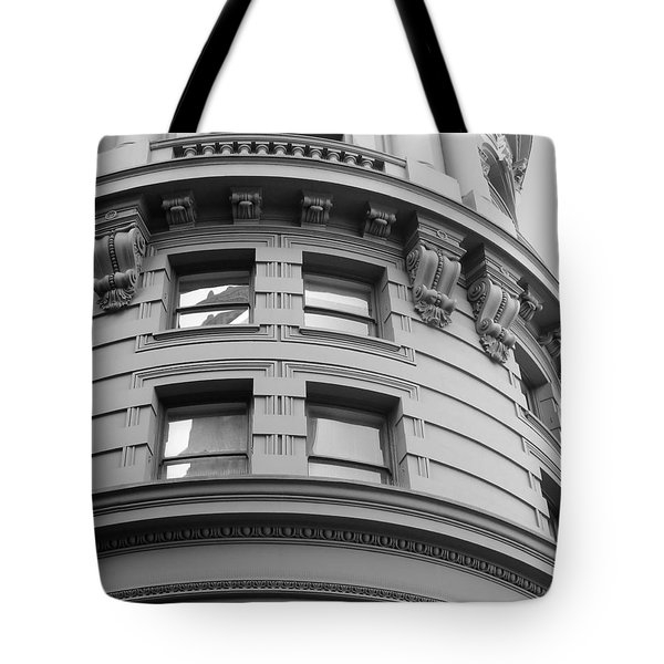 Tote Bag featuring the photograph Circular Building Details San Francisco Bw by Connie Fox