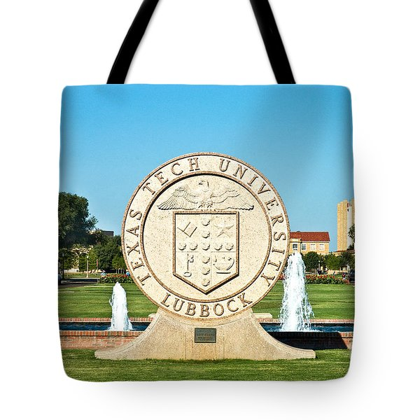 Tote Bag featuring the photograph Classical Image Of The Texas Tech University Seal  by Mae Wertz