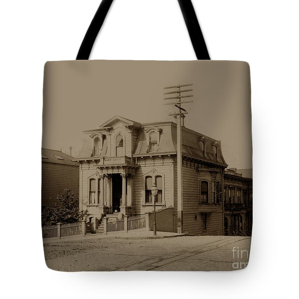Clay And Hyde Street's San Francisco Built In 1874 Burned In The 1906 Fire Tote Bag by California Views Mr Pat Hathaway Archives