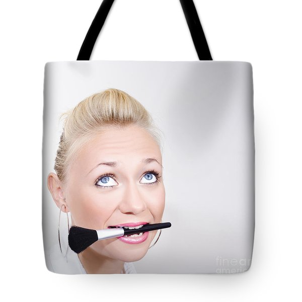 Close-up Face Of A Beautiful Woman Wearing Makeup Tote Bag